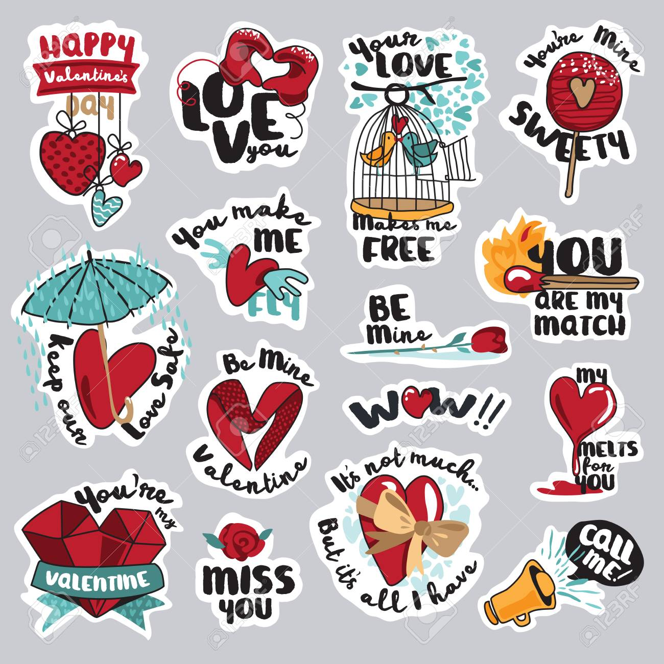 Set of love stickers for social network sweet and funny stickers for mobile messages