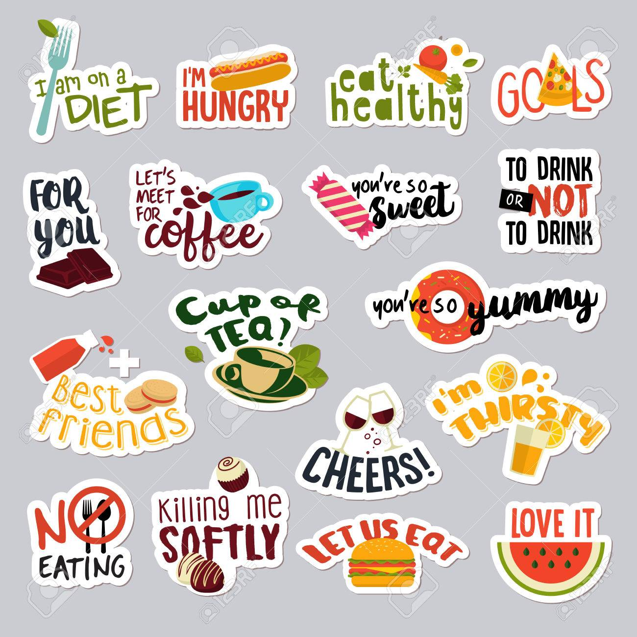 Set of funny stickers for social network food and drink stickers for mobile messages