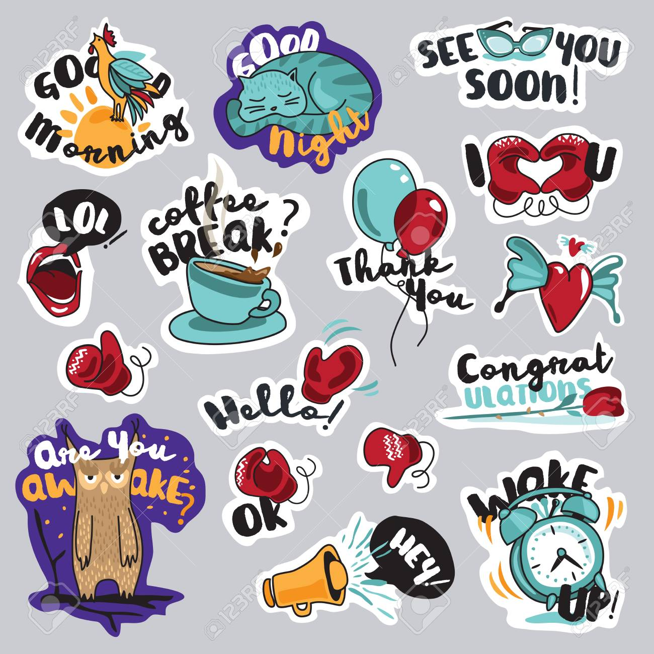 Set of funny stickers for social network everyday stickers for mobile messages chat
