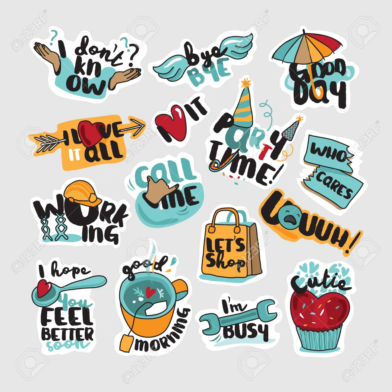 Collection of stickers and signs for social network web design mobile messages social