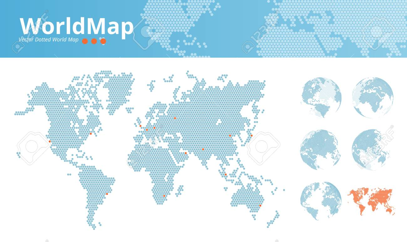 Vector dotted world map business world map with marked economic vector vector dotted world map business world map with marked economic centers and earth globes illustration template for web design annual reports gumiabroncs Gallery