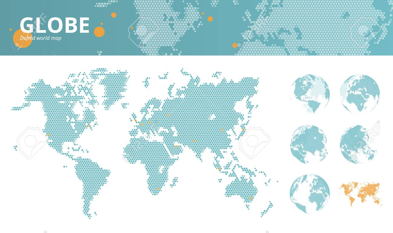 Business dotted world map with marked economic centers and earth business dotted world map with marked economic centers and earth globes vector illustration template for gumiabroncs Images