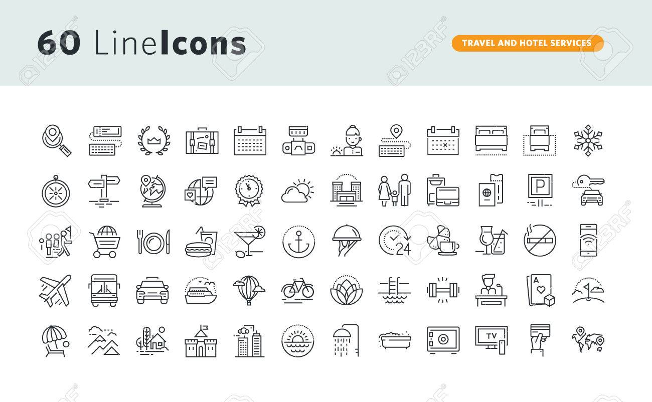 Set of premium concept icons for travel and hotel services. - 72756408