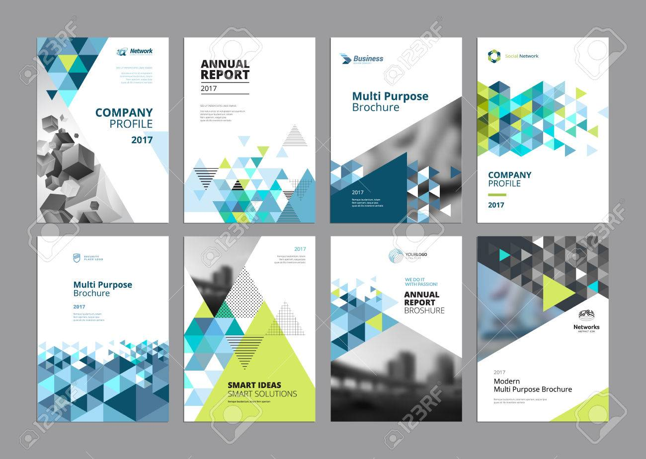 Set of modern business paper design templates. Vector illustrations of brochure covers, annual reports, flyer design layouts, business presentations, ads and magazine, business stationary collection. - 73679084