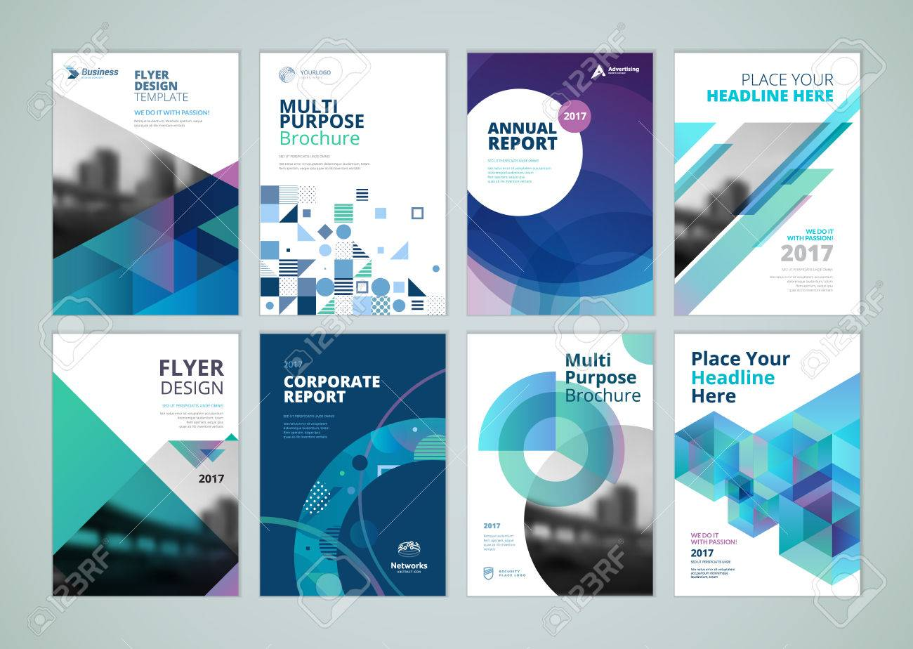 Brochure, annual report, flyer design templates in A4 size. Set of vector illustrations for business presentation, business paper, corporate document cover and layout template designs. - 74183261