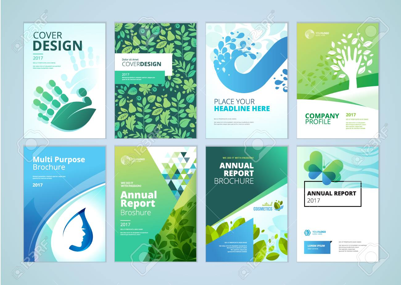 Natural and organic products brochure cover design and flyer layout templates collection. Vector illustrations for marketing material, ads and magazine, natural products presentation templates. - 74106418