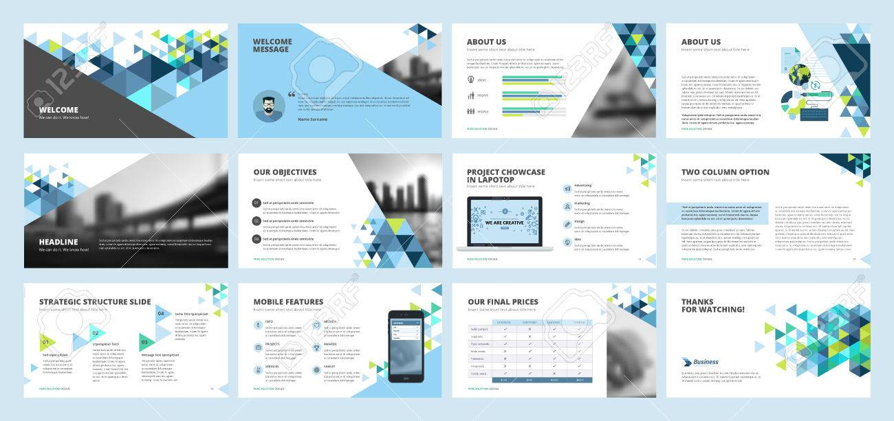 Business presentation templates. Set of vector infographic elements for presentation slides, annual report, business marketing, brochure, flyers, web design and banner, company presentation. - 75403674