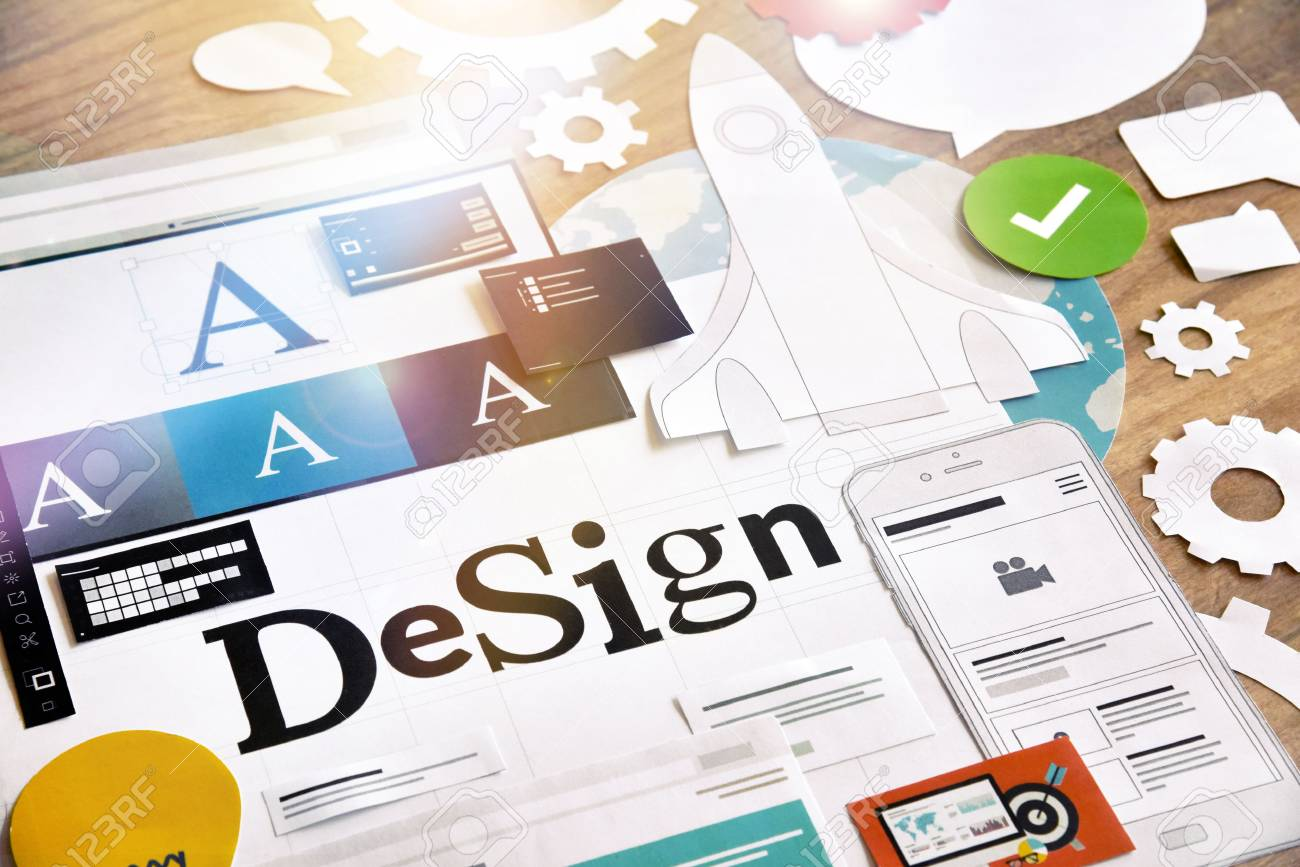 Creative process. Concept for different categories of design, graphic and web design, logo, stationary and product design, company identity, branding, marketing material, mobile app, social media. - 77087756