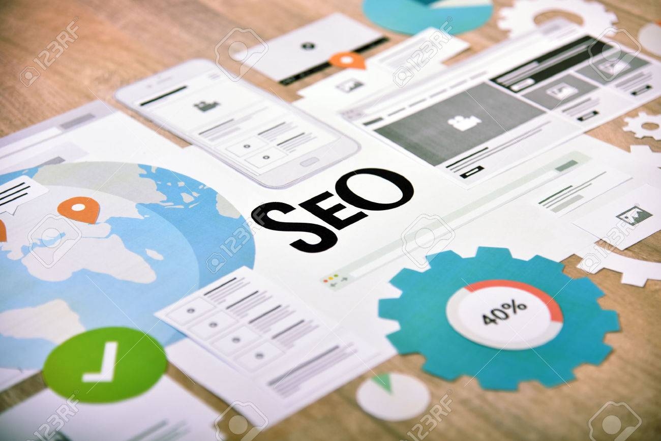 SEO concept banner. Concept for website and mobile website development and optimization, app development, responsive design optimization, social media and network. - 77517877