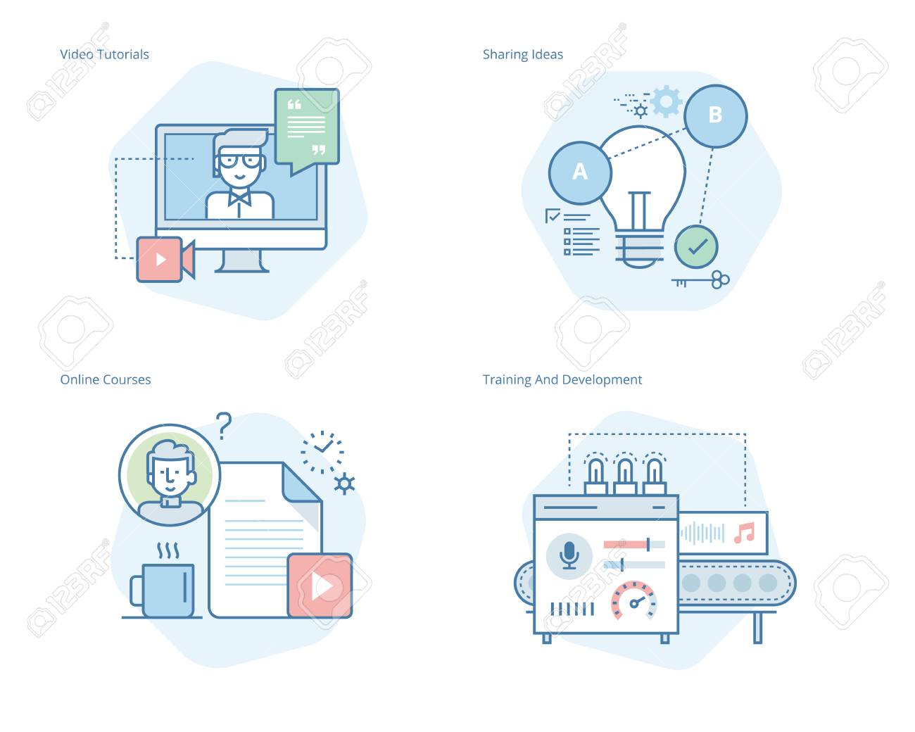 Set of concept line icons for education, video tutorials, online courses, training and development, sharing ideas. UI/UX kit for web design, applications, mobile interface, infographics and print design. - 80558775