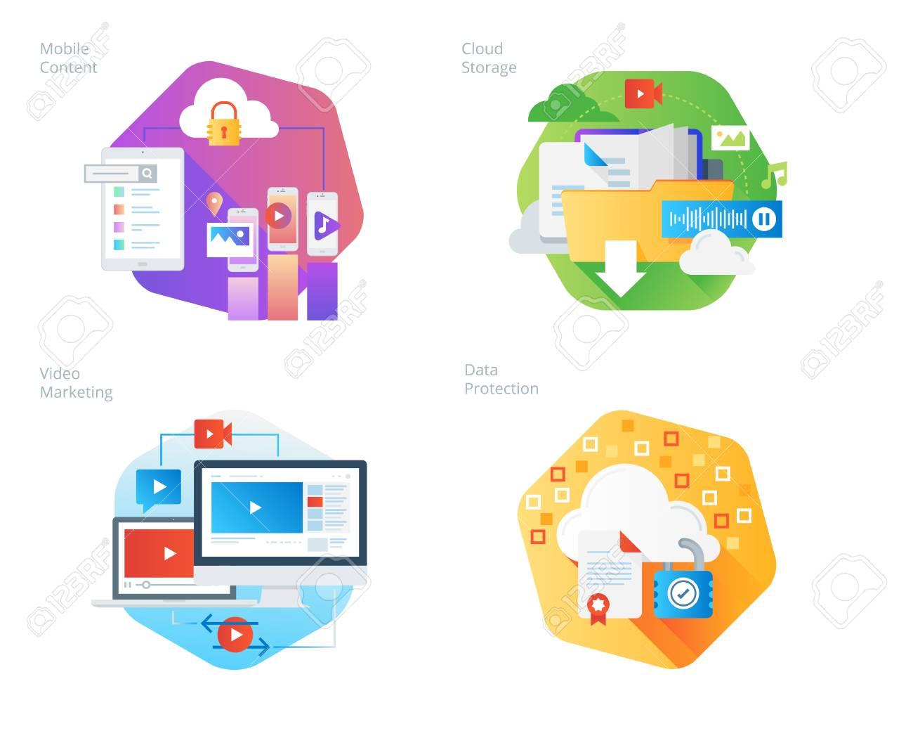 2432cfa808 Set D icônes De Conception Matérielle Pour Les Services Et Solutions  Mobiles