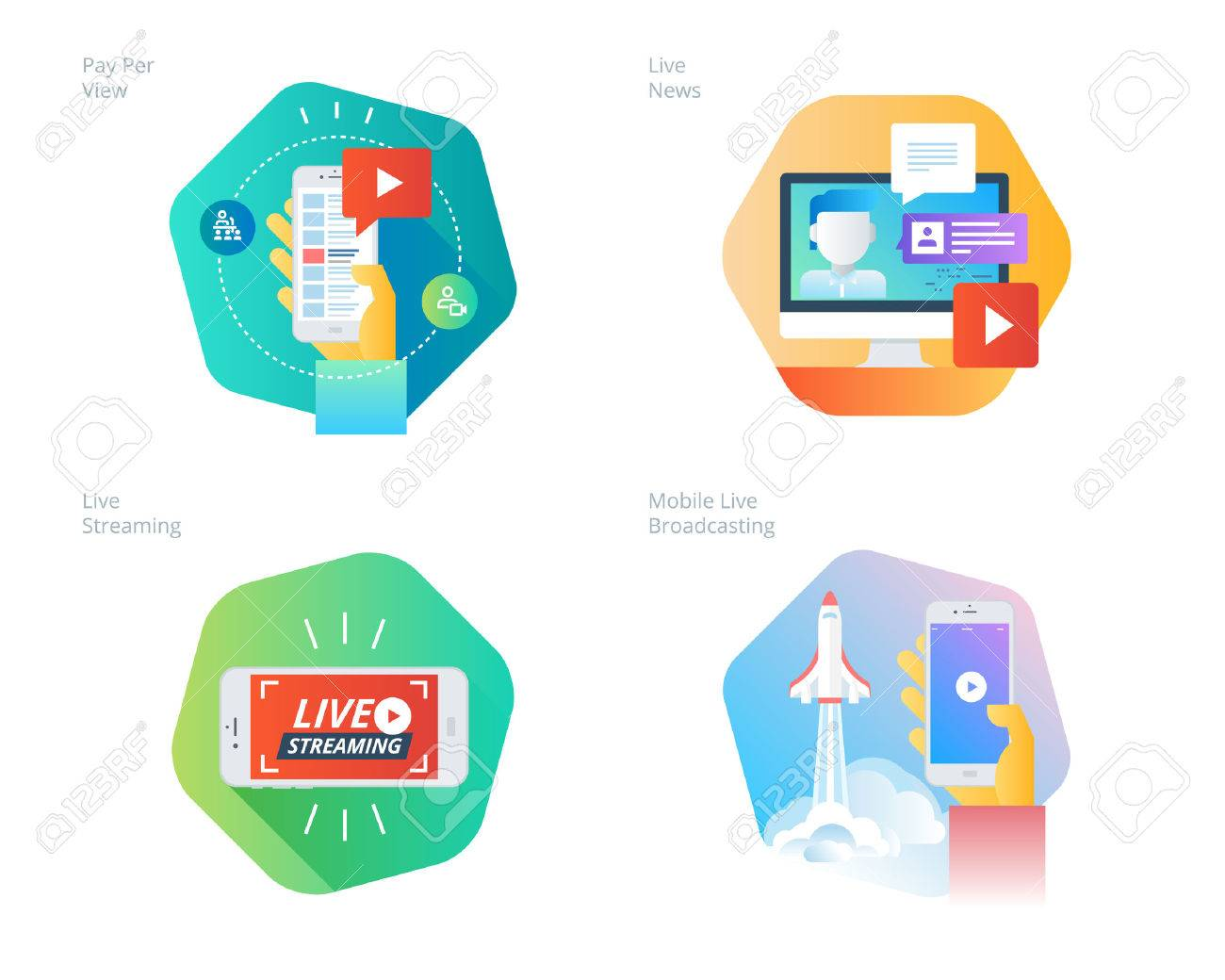 Material design icons set for live streaming, mobile broadcasting,