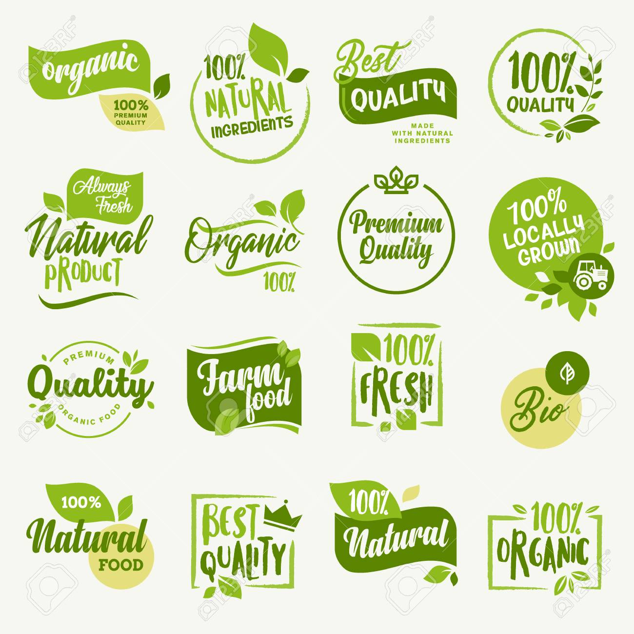 Organic food farm fresh and natural product stickers and badges