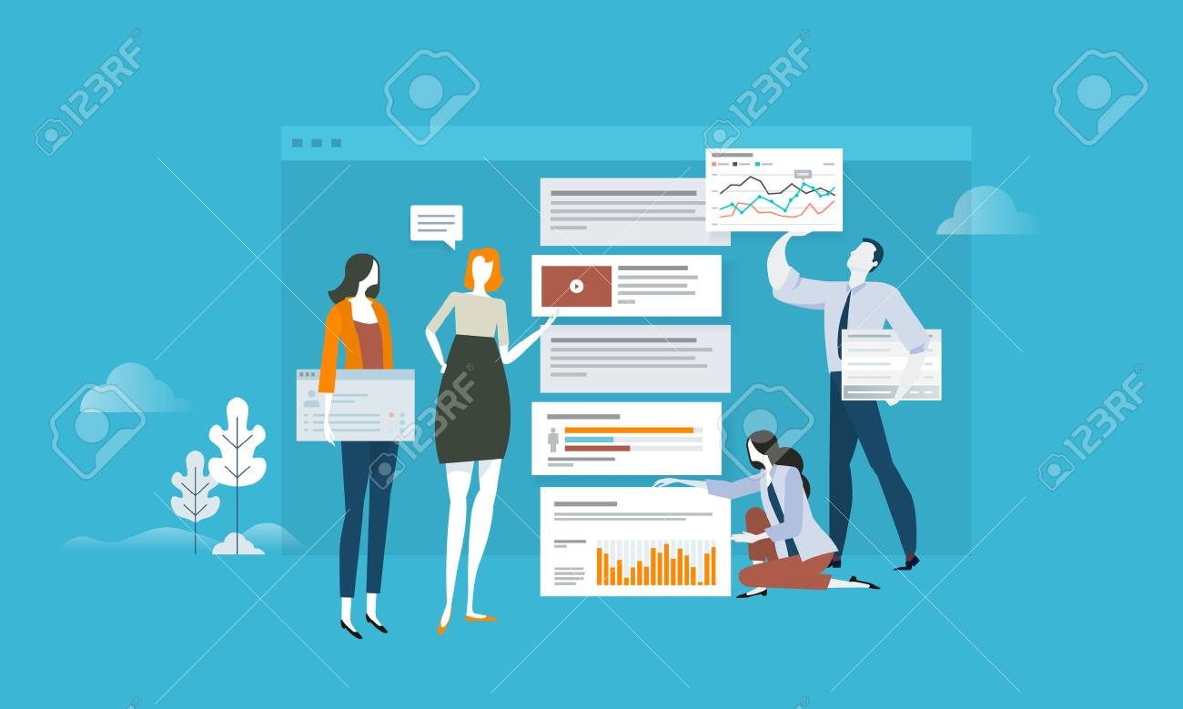 SEO. Flat design concept for web analytics, app update and optimization. Vector illustration concept for web banner, business presentation, advertising material. - 86817104