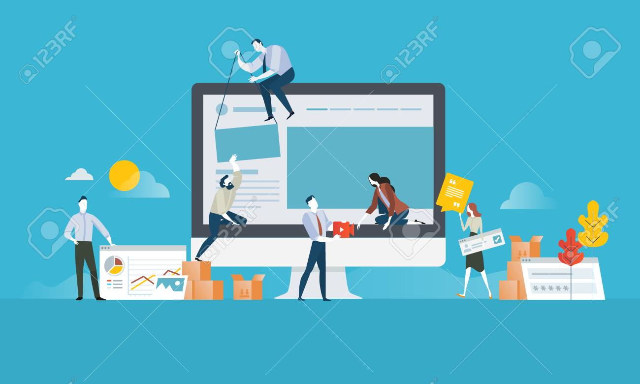 Web design. Flat design concept for website and app design and development. Vector illustration concept for web banner, business presentation, advertising material. - 86817114