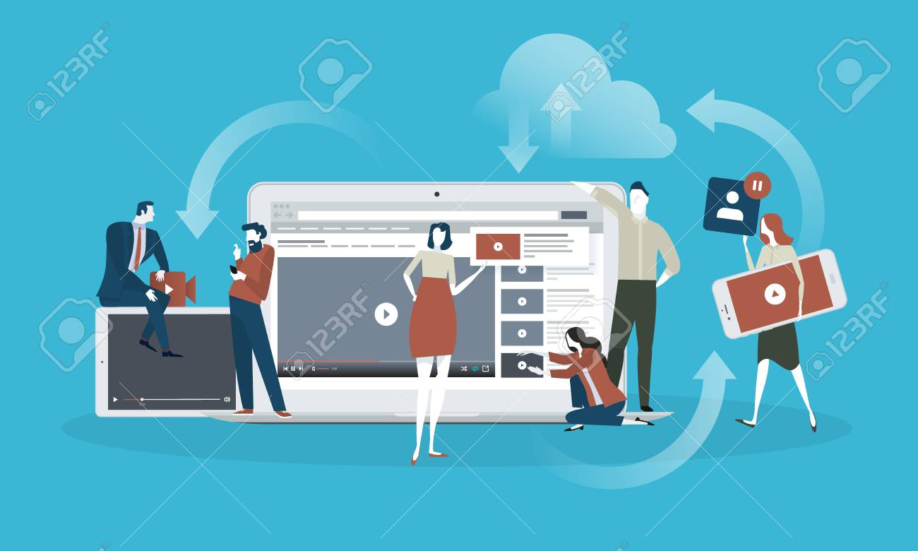 Video. Flat design concept for live streaming, movie, video marketing. Vector illustration concept for web banner, business presentation, advertising material. - 86817118