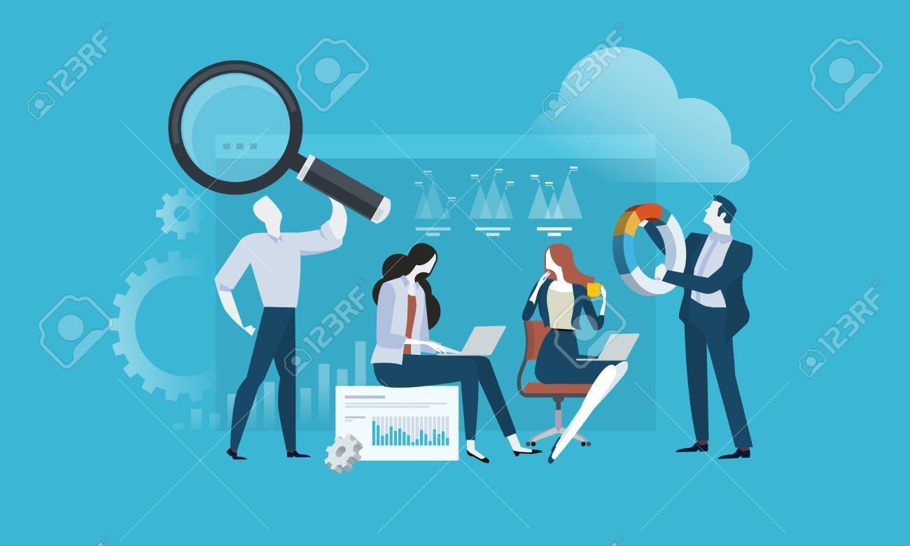 Market research and SEO. Flat design vector illustration concept for web banner, business presentation, advertising material. - 86817119
