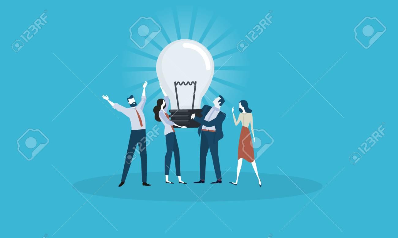 Big idea. Flat design business people concept. Vector illustration concept for web banner, business presentation, advertising material. - 86817123