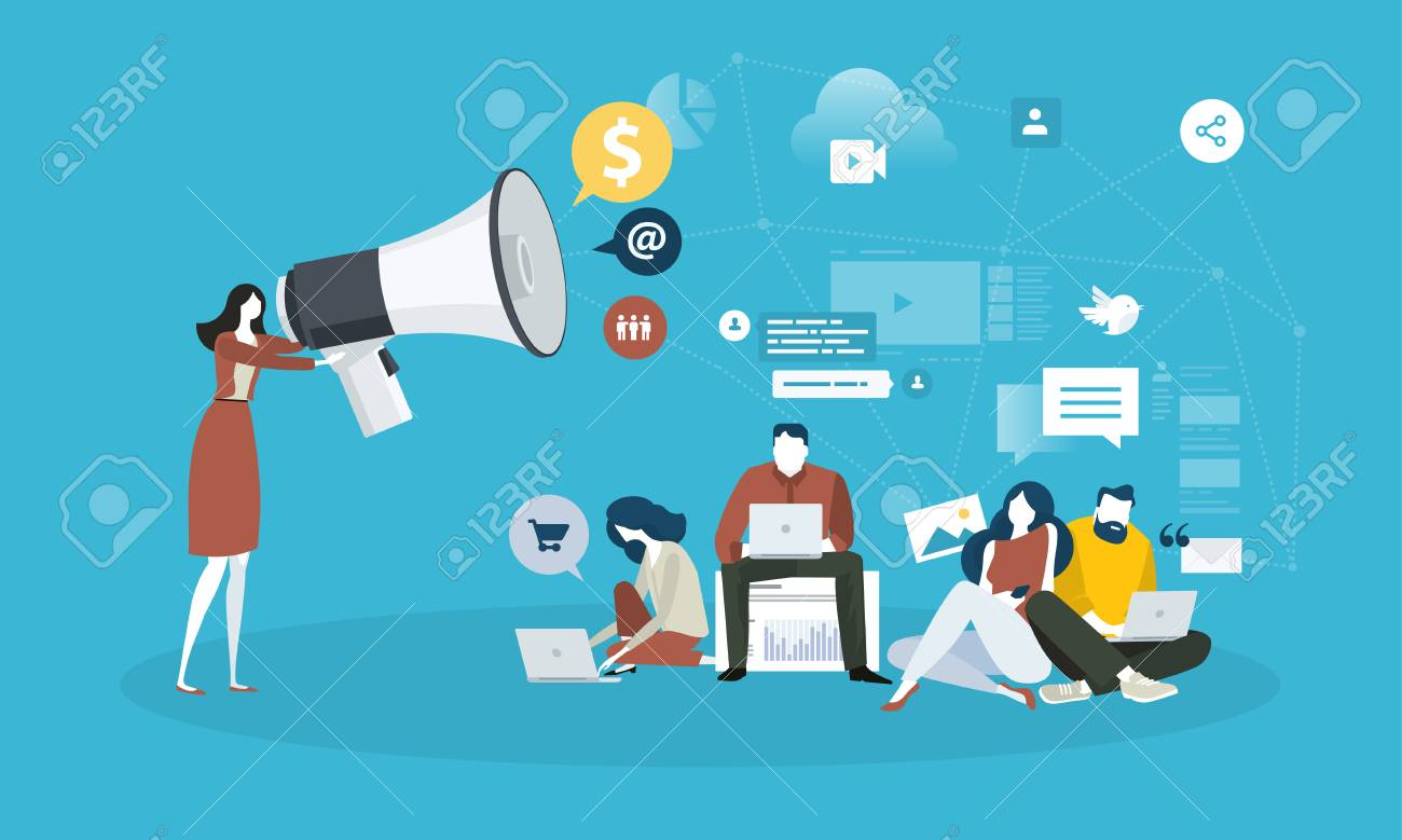 Internet marketing. Flat design people and technology concept. Vector illustration for web banner, business presentation, advertising material. - 87349723
