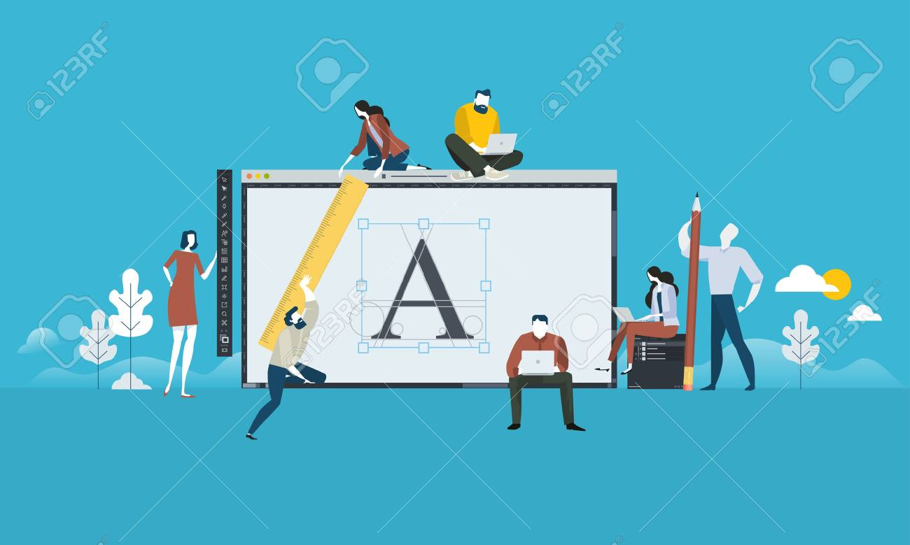 Logo design. Flat design people concept for graphic design, branding and corporate identity. Vector illustration for web banner, business presentation, advertising material. - 87349726