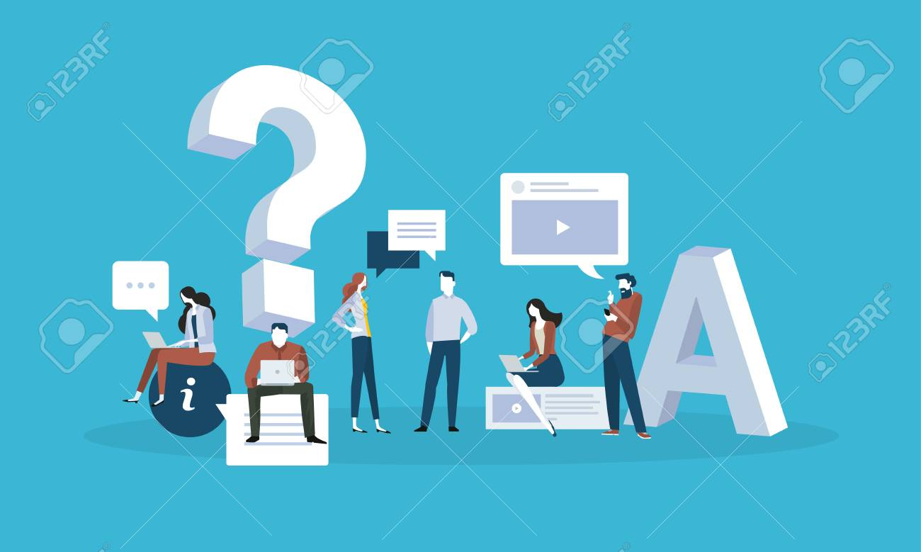 FAQ. Flat design business people concept for answers and questions. Vector illustration for web banner, business presentation, advertising material. - 87349736