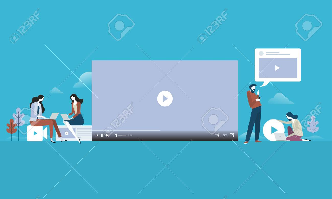 Video streaming. Flat design people and technology concept. Vector illustration for web banner, business presentation, advertising material. - 87349737