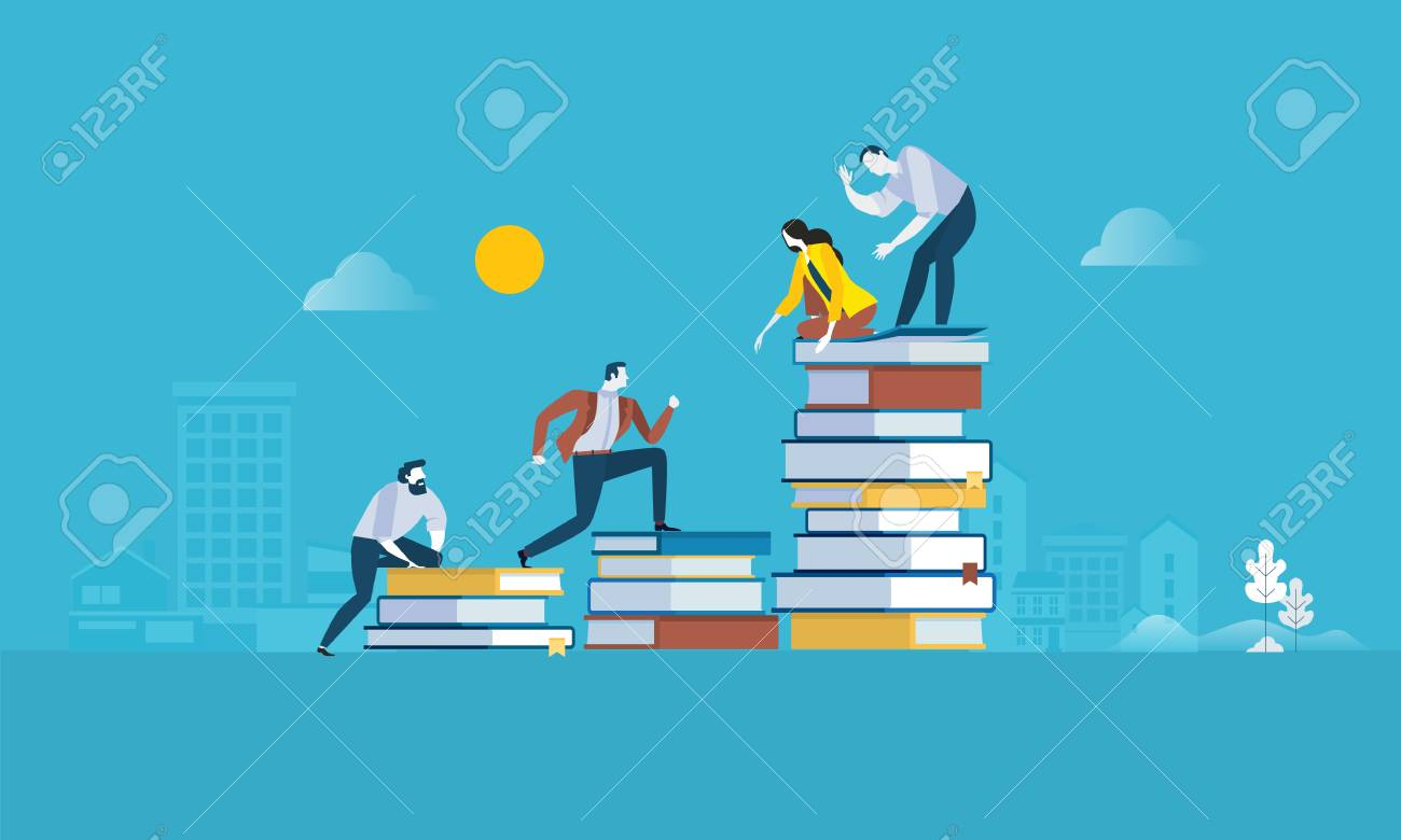 Flat design style web banner for the path to success, levels of education, staff training, specialization, learning support. Vector illustration concept for web design, marketing, and print material. - 88065037