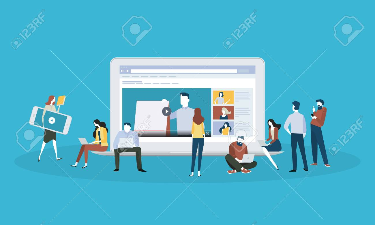 Flat design style web banner for online education, video tutorials, online training and courses. Vector illustration concept for web design, marketing, and print material. - 88065041