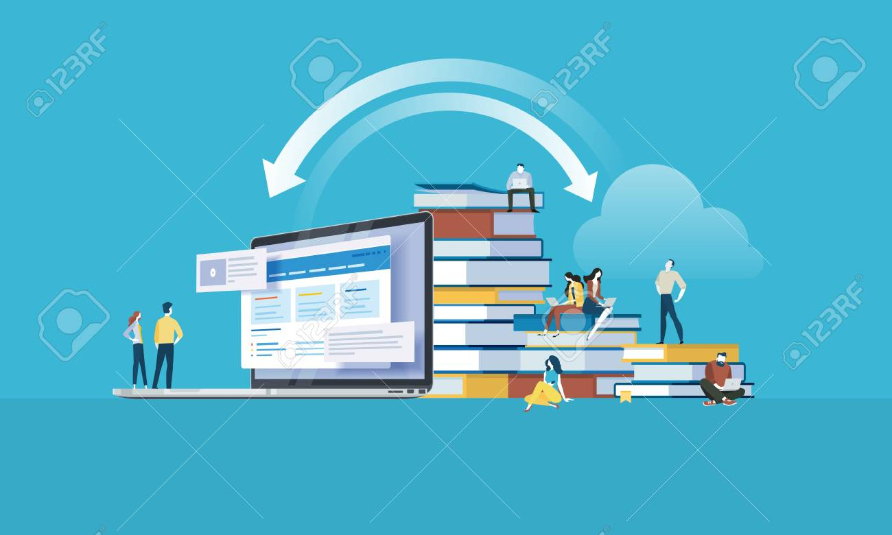 Flat design style web banner for education apps, online training courses, distance education. Vector illustration concept for web design, marketing, and print material. - 88065045