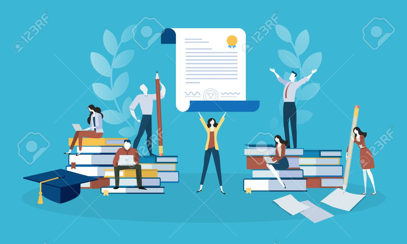 Flat design style web banner for education, knowledge, certificate, training courses. Vector illustration concept for web design, marketing, and print material. - 88065053