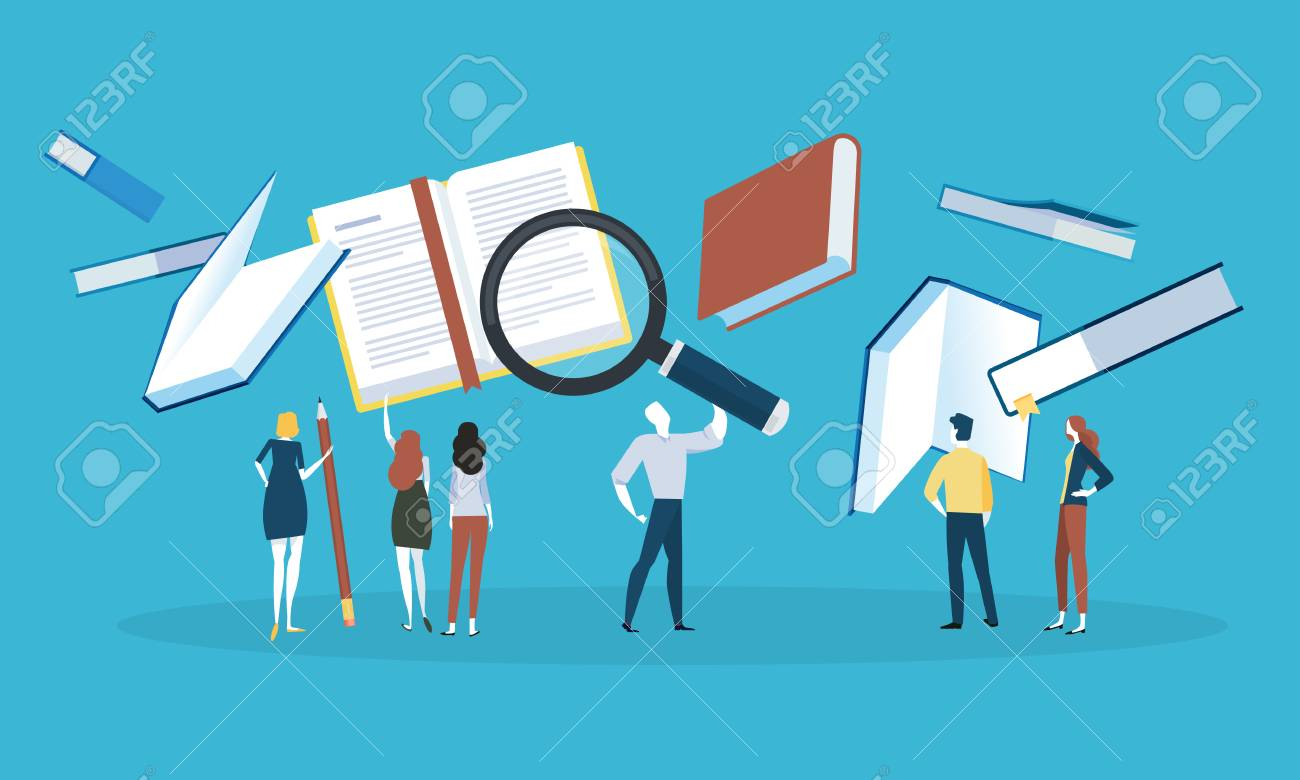 Flat design style web banner for know-how, search for a book, download literature, online book store. Vector illustration concept for web design, marketing, and print material. - 88065060
