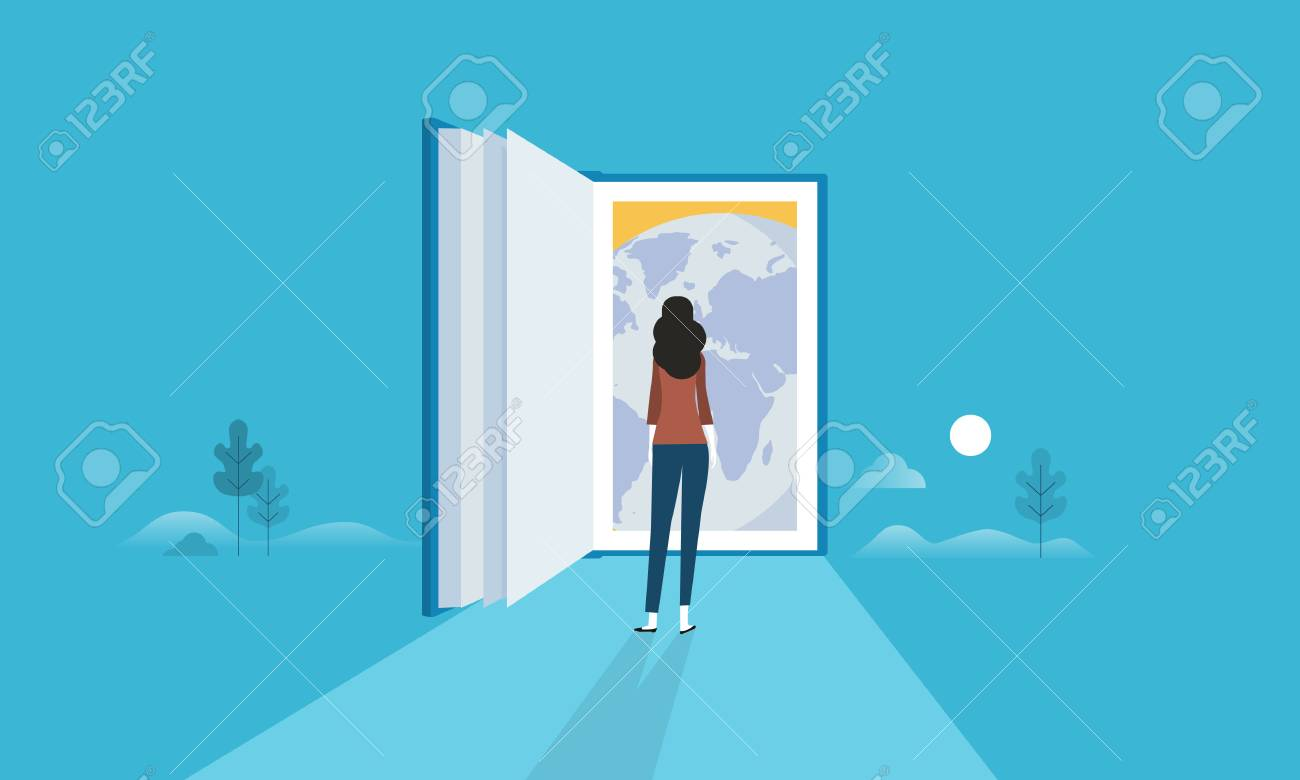 Flat design style web banner for education for all, door to the whole world, global knowledge. Vector illustration concept for web design, marketing, and print material. - 88065071