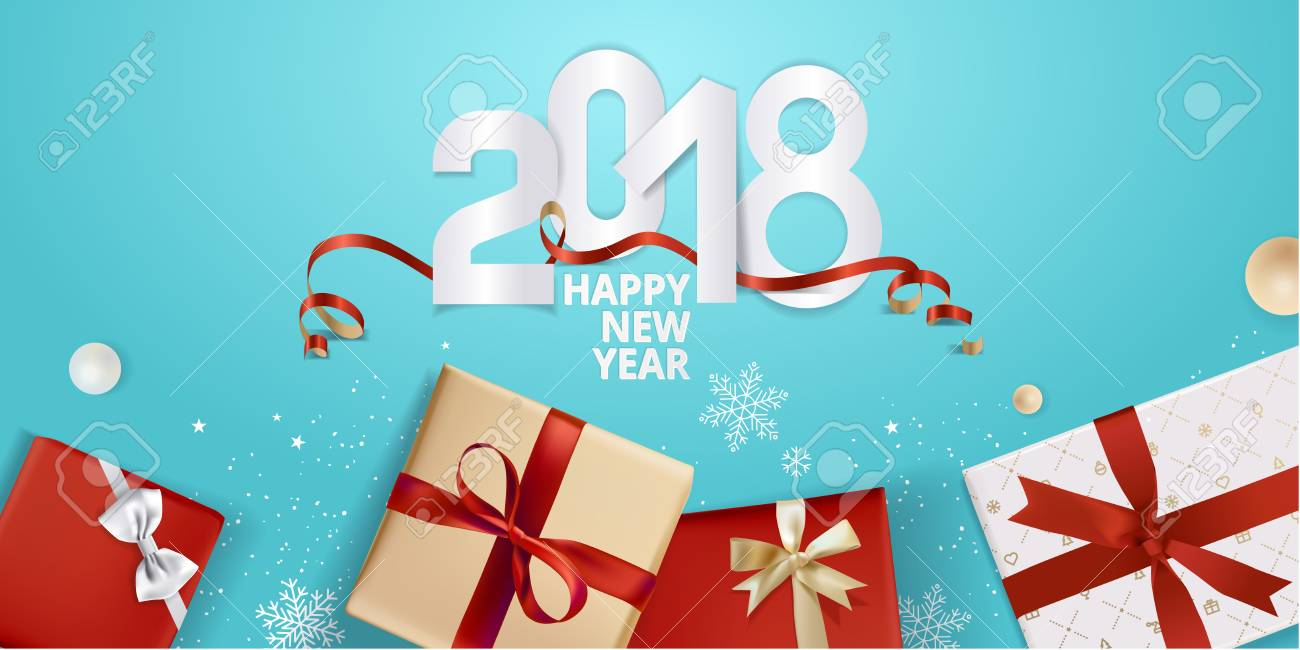 Vector illustration of New Year 2018 greeting card. Design template for greeting card, web banner, flayer brochure, party invitation card. - 89102240