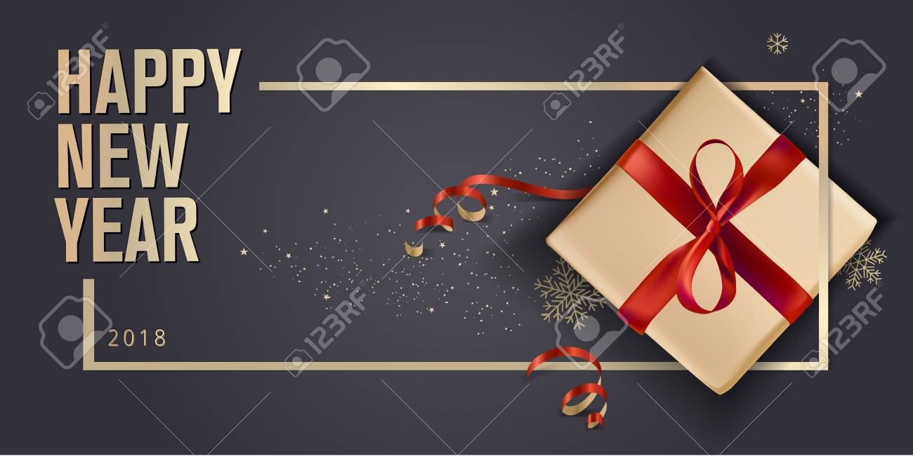 New Year greeting card. Luxurious vector illustration concept for greeting cards, web banner, flayer brochure, party invitation card. - 89312209