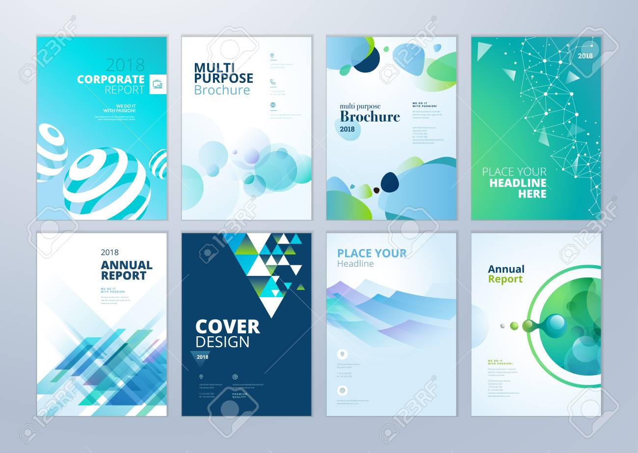 Set of brochure, annual report, flyer design templates in A4