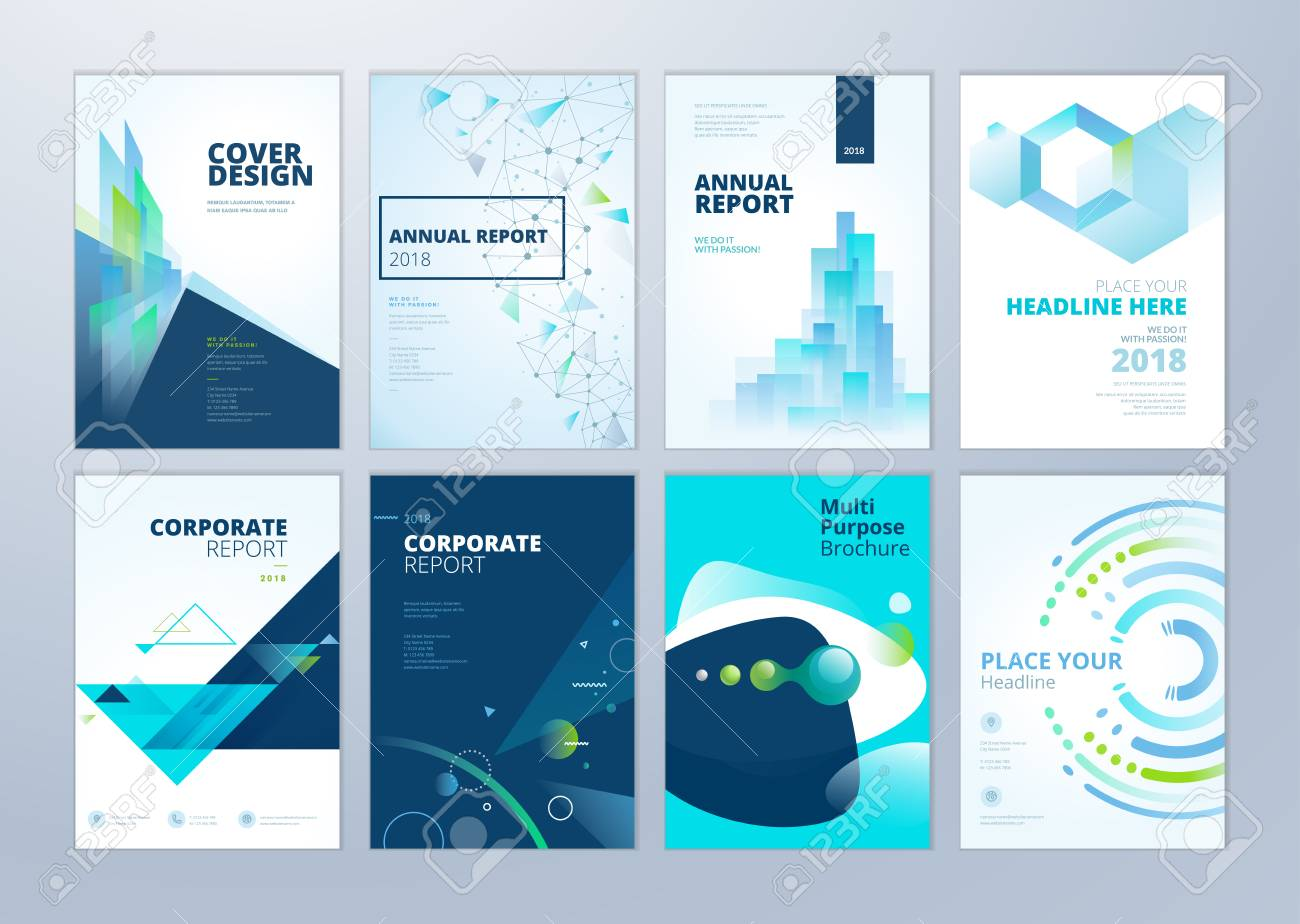 Set of brochure, annual report, flyer design templates in A4 size. Vector illustrations for business presentation, business paper, corporate document cover and layout template designs. - 93986283