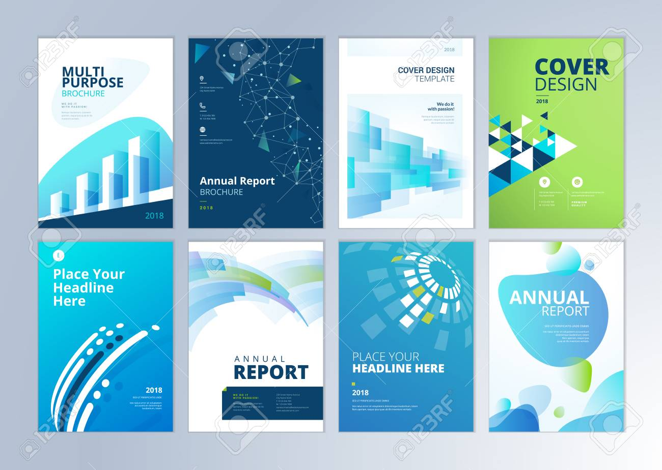 Set of brochure, annual report, flyer design templates in A4 size. Vector illustrations for business presentation, business paper, corporate document cover and layout template designs. - 93986282