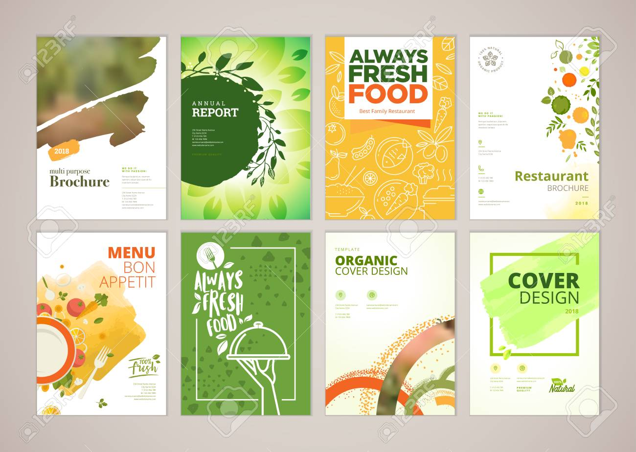 Set of restaurant menu, brochure, flyer design templates in A4 size. Vector illustrations for food and drink marketing material, ads, natural products presentation templates, cover design. - 93986285