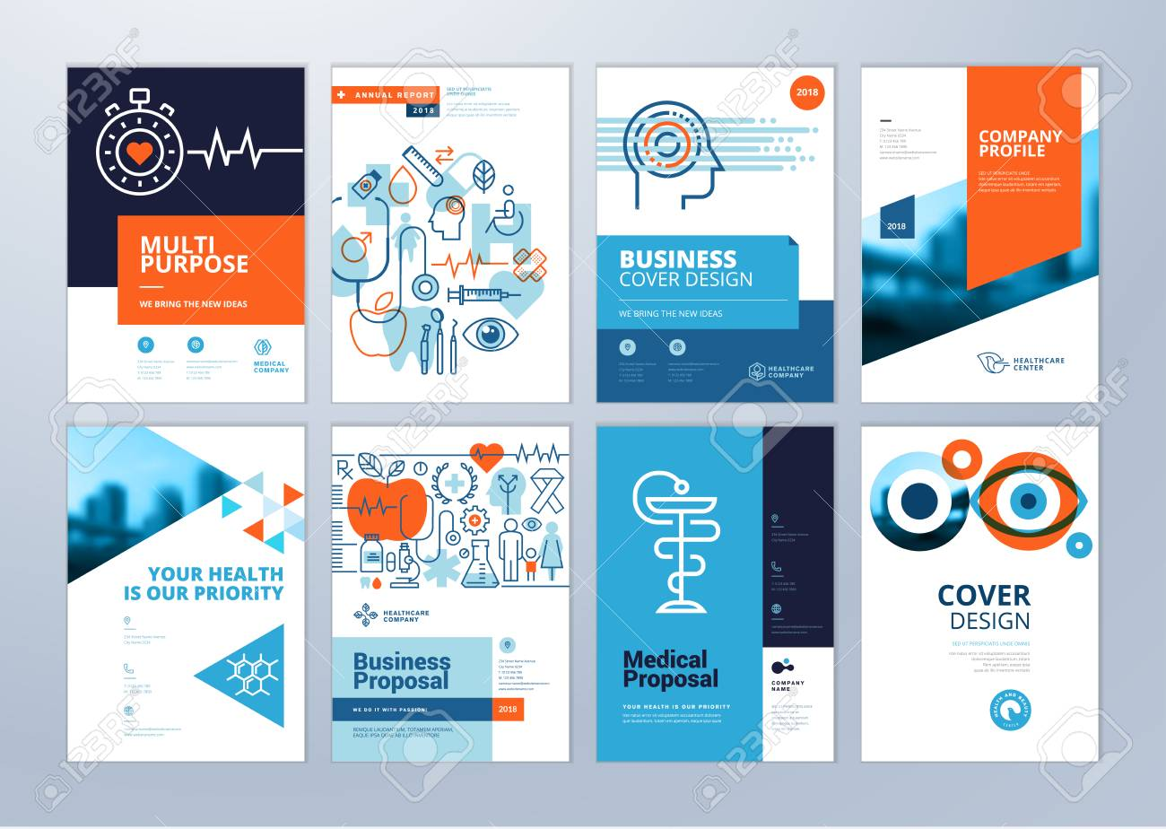 set of medical brochure annual report flyer design templates