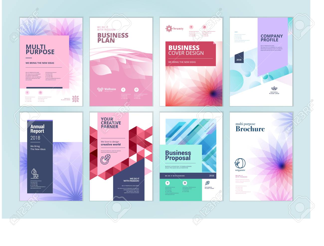Set of beauty brochure, annual report, flyer design templates in A4 size. Vector illustrations for beauty, spa and wellness presentation, document cover and layout template designs. - 94466064