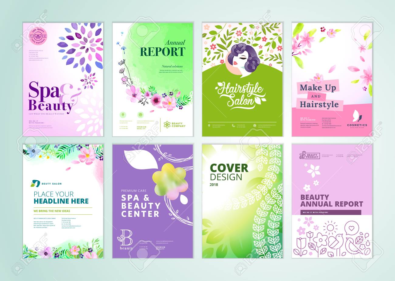 Set of beauty brochure, annual report, flyer design templates in A4 size. - 94468513