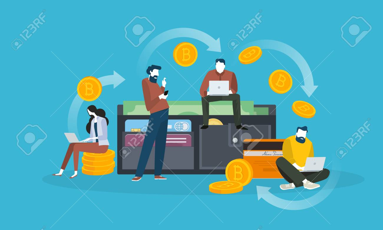 Cryptocurrency Wallet Flat Design Style Web Banner Of Blockchain Technology Bitcoin Altcoins
