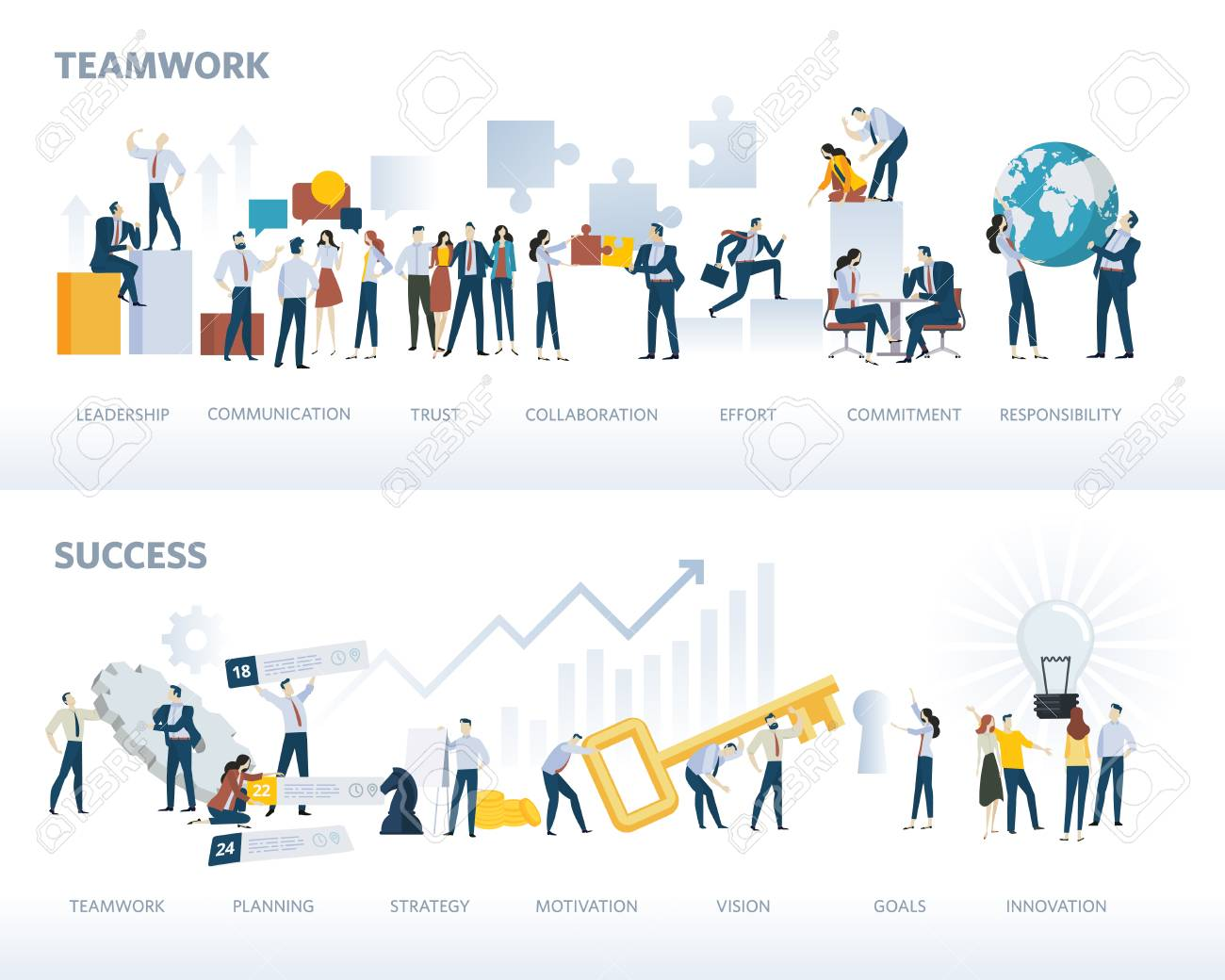 Set of flat design web banners of teamwork and success, isolated on white. Vector illustration concepts for business workflow and success, project management, team building. - 96444519