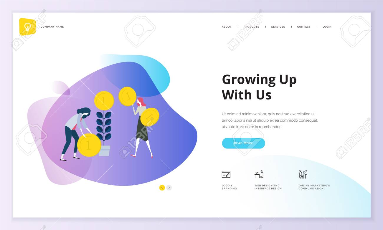 Website template design. Modern vector illustration concept of web page design for website and mobile website development. Easy to edit and customize. - 98760715