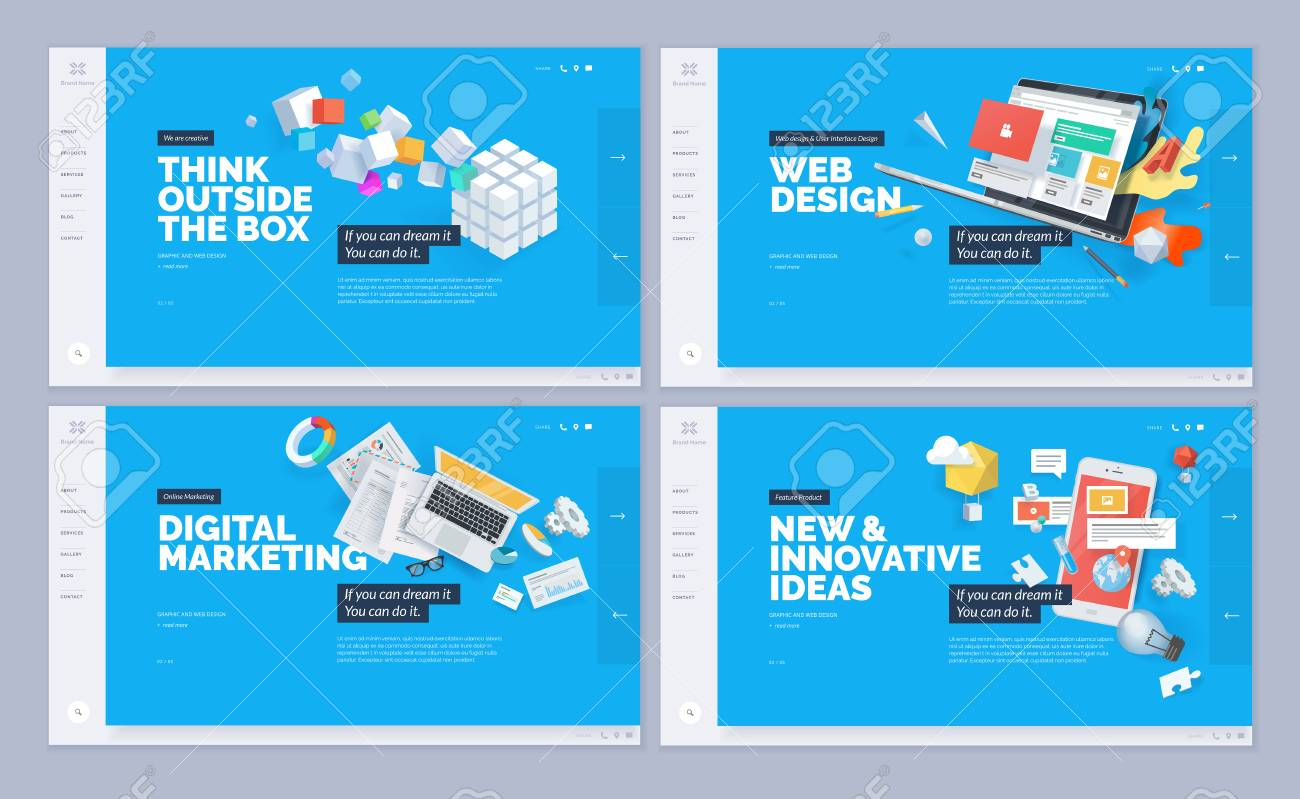 Set of website template designs. Modern vector illustration concepts of web page design for website and mobile website development. - 98878707