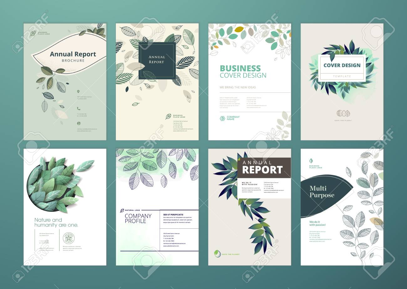 set of brochure and annual report cover design templates on the