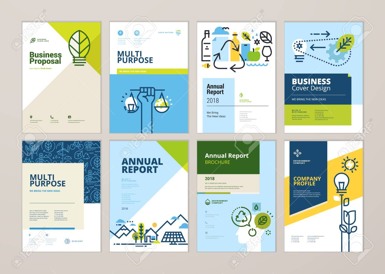 Set Of Brochure And Annual Report Cover Design Templates Of Nature