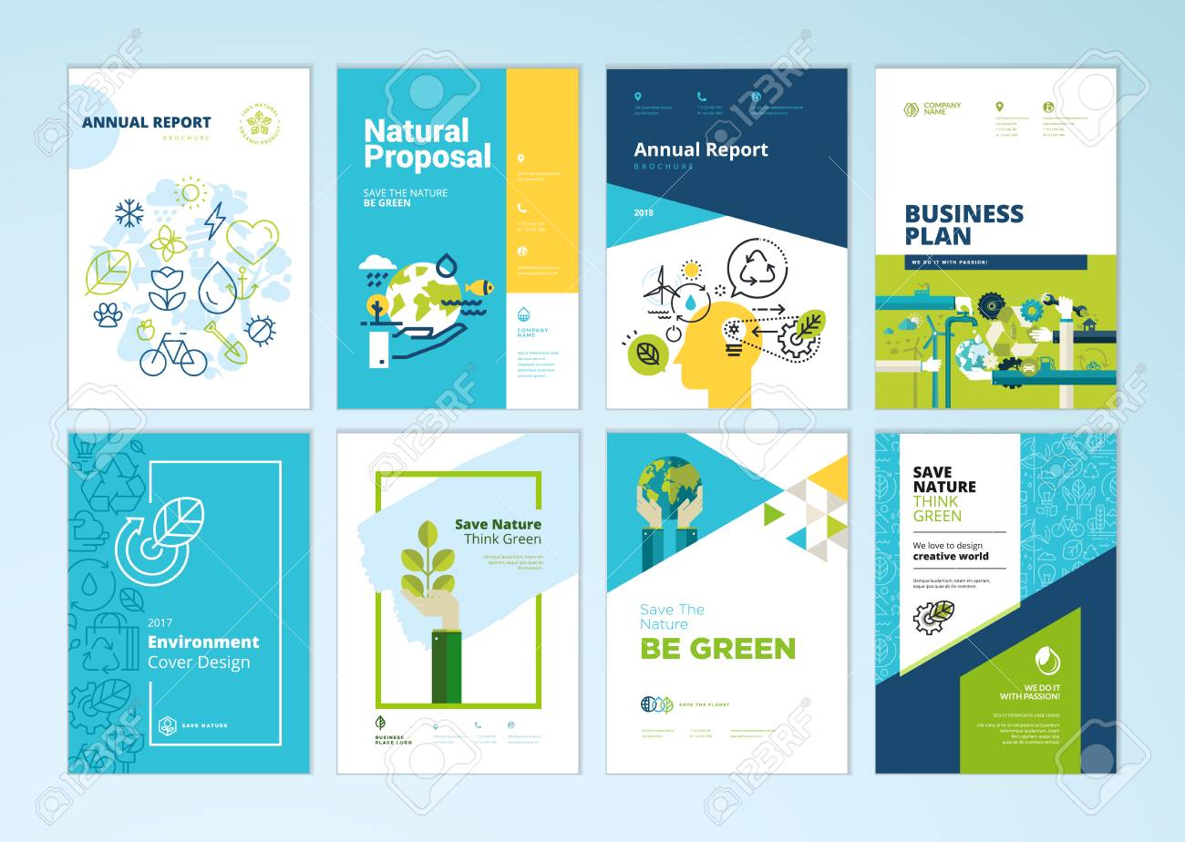 Set of brochure and annual report cover design templates of nature, green technology, renewable energy, sustainable development, environment. Vector illustrations for flyer layout, marketing material. - 102004195