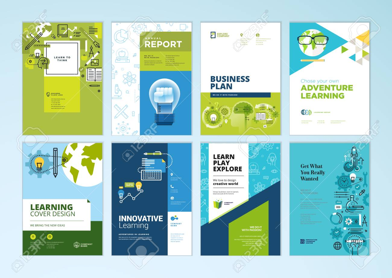 set of brochure design templates on the subject of education school