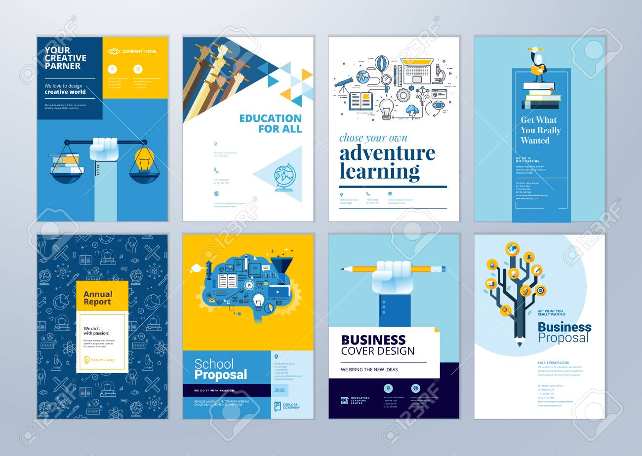 Set of brochure design templates on the subject of education, school, online learning. Vector illustrations for flyer layout, marketing material, annual report cover, presentation template. - 102664228